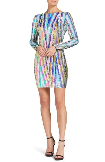 1960s – 70s Cocktail, Party, Prom, Evening Dresses Womens Dress The Population Lola Sequin Body-Con Dress Size XX-Large - White $238.00 AT vintagedancer.com