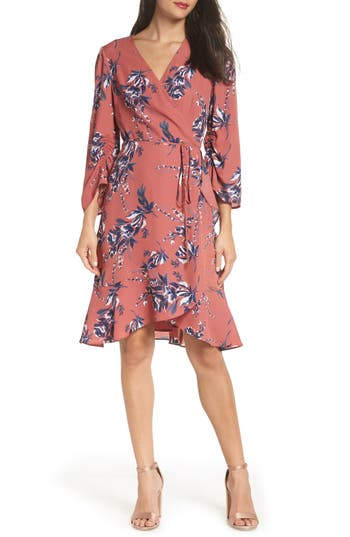 Charles Henry Ruched Sleeve Wrap Dress, Pink