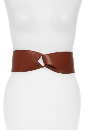 Halogen Knot Faux Leather Stretch Belt, Cognac