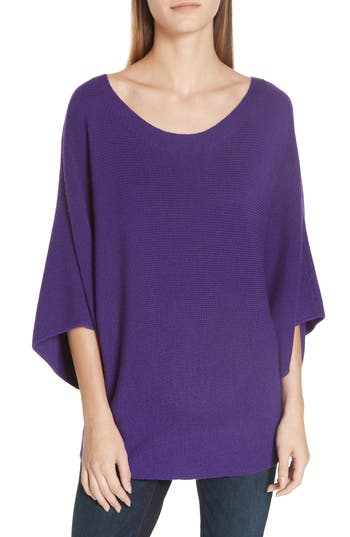 Eileen Fisher Kimono Sleeve Merino Wool Sweater, Purple