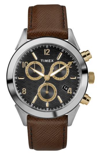 Timex Torrington Chronograph Leather Strap Watch, 40Mm