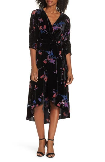 Eliza J Floral Faux Wrap Dress, Black