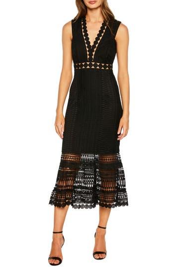 Petra Lace Tea Length Dress, Black