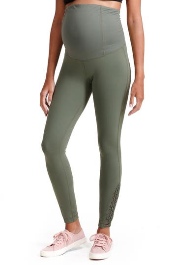 Ingrid & Isabel Active Maternity Leggings With Macrame Detail, Green