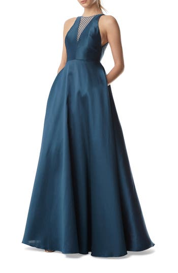 Ml Monique Lhuillier Mesh Inset Ball Gown, Blue/green