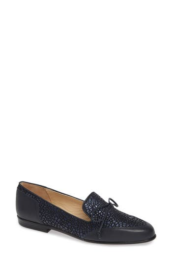 Ombretto Embossed Loafer, Navy Leather