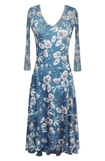Komarov Charmeuse & Chiffon Midi Dress, Blue/green
