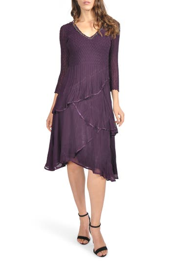 1920s Style Dresses, Flapper Dresses Komarov Embellished Tiered Chiffon A-Line Dress Size Small P - Purple $398.00 AT vintagedancer.com