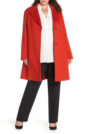 Plus Size Fleurette Loro Piana Wool Long Coat, Red