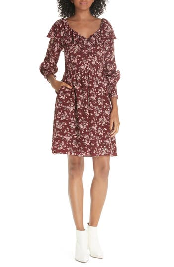 Rebecca Taylor Tilda Silk Ruffle Dress, Burgundy