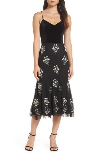 Adrianna Papell Bead Embellished Midi Dress, Black