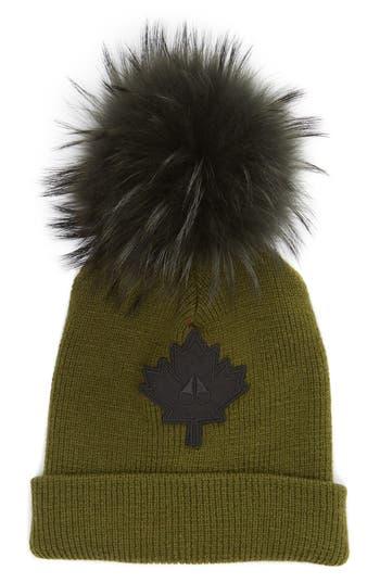 Maple Leaf Toque Hat With Removable Genuine Fox Fur Pom - Green, Olive/ Grey Fox