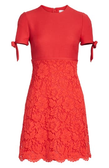 Valentino Bow Detail Lace Dress, Red