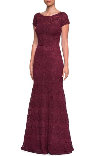 La Femme Sequin Lace Trumpet Gown, Red