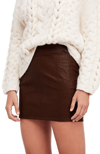 Free People Retro Faux Leather Body-Con Miniskirt, Brown