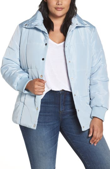 Plus Size Lost Ink Belted Quilted Jacket, Blue