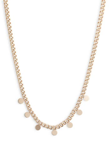Zoe Chicco Itty Bitty Disc Curb Chain Necklace