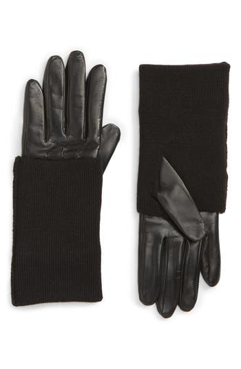 Nordstrom Knit Cuff Lambskin Leather Gloves, Black