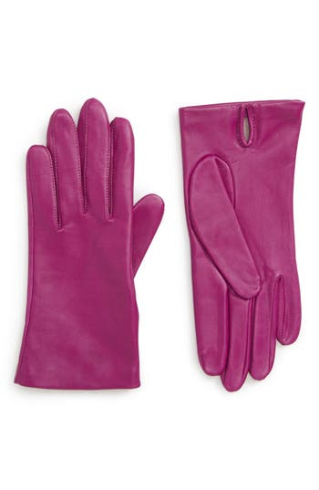 Nordstrom Lambskin Leather Gloves, Pink