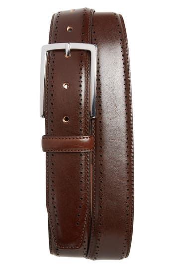 Big & Tall Nordstrom Shop Lowell Leather Belt, Brown