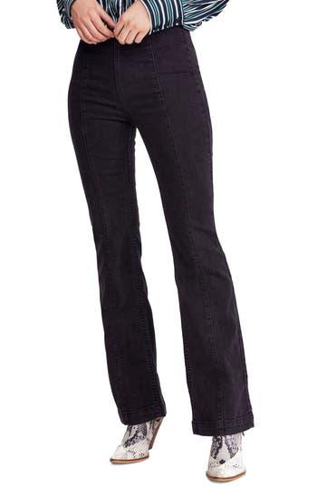 Free People Slim Pull-On Flare Pants, Black