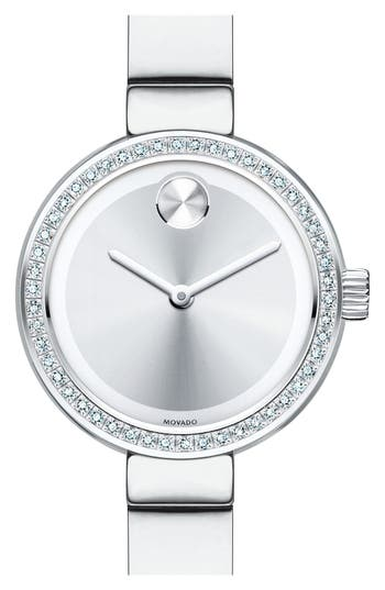 Women's Movado 'Bold' Diamond Bezel Bangle Watch, 25Mm