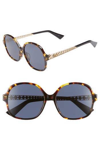 Ama 58Mm Special Fit Round Sunglasses - Dark Havana