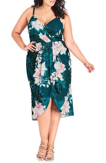 Plus Size City Chic Jade Bloom Faux Wrap Dress, Blue