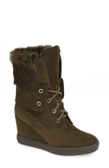 Aquatalia Cordelia Genuine Rabbit Fur Weather Resistant Boot, Green