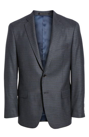 HART SCHAFFNER MARX Classic Fit Stretch Check Wool Sport Coat in Mid Blue