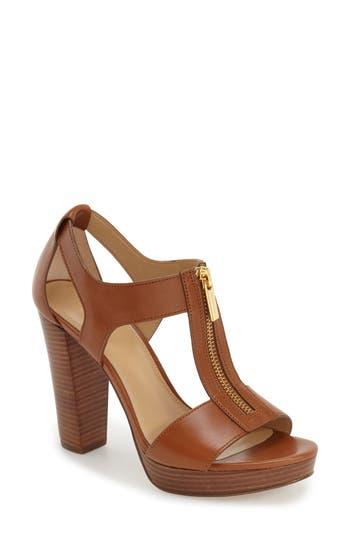 Berkley Zipper Platform High-Heel Sandals in Luggage