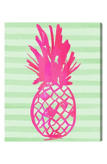 Oliver Gal 'Pink Pineapple' Hand Stretched Canvas Wall Art