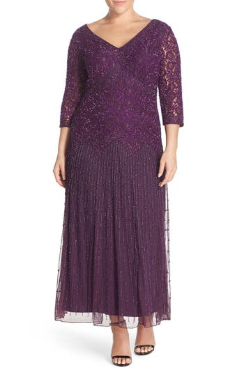 1930s Plus Size Dresses Plus Size Womens Pisarro Nights Beaded V-Neck Lace Illusion Gown Size 14W - Purple $238.00 AT vintagedancer.com