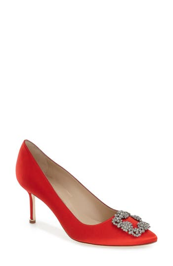 Women's Manolo Blahnik 'Hangisi' Pointy Toe Pump, Size 9.5US / 39.5EU - Red