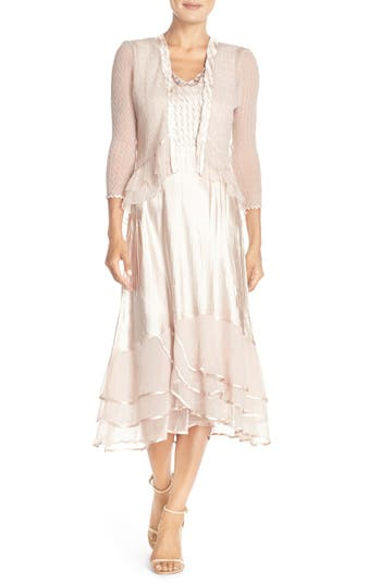 1940s Style Wedding Dresses and Accessories Womens Komarov Beaded Charmeuse  Chiffon Midi Dress With Jacket Size Small - Pink $438.00 AT vintagedancer.com
