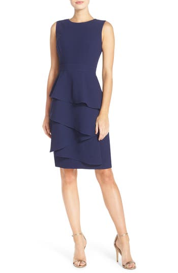 Eliza J Ella Cascade Crepe Sheath Dress, Blue