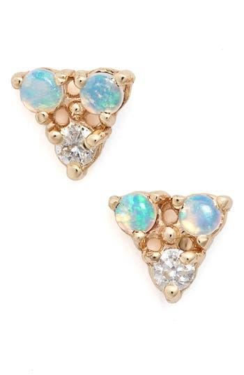 Women's Wwake Triangle Opal & Diamond Earrings