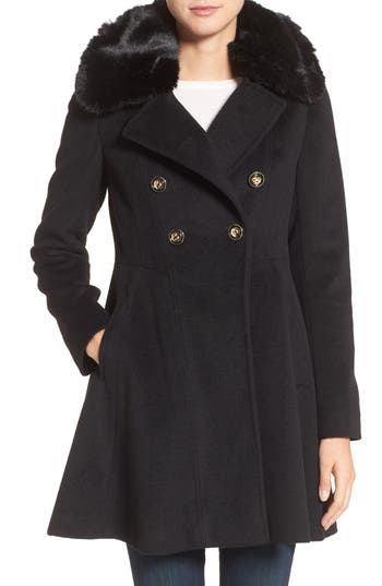 Women's Via Spiga Double Breasted Coat With Faux Fur Collar