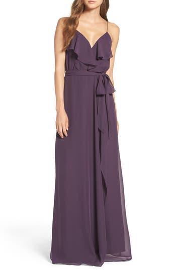 Women's Nouvelle Amsale 'Drew' Ruffle Front Chiffon Gown, Size Medium - Purple