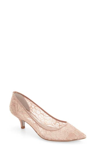 3b1e350a326 Adrianna Papell Lois Lace Kitten Pump In Blush Lace