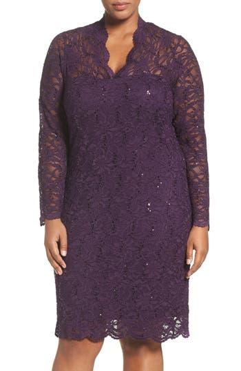 Plus Size Women's Marina Sequin Stretch Lace Sheath Dress