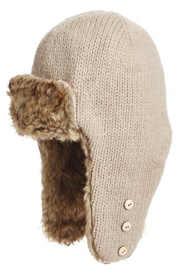 Women's Nirvanna Designs Earflap Hat With Faux Fur Trim -