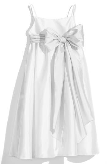 Girl's Us Angels White Sleeveless Empire Waist Taffeta Dress