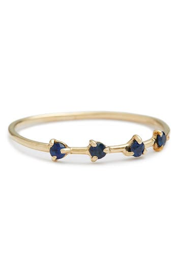Women's Wwake Counting Collection Four-Step Sapphire Ring