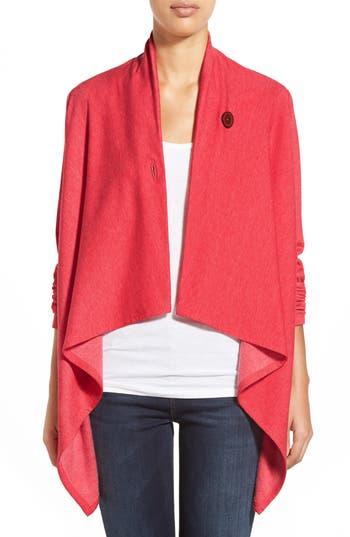 Petite Women's Bobeau One-Button Fleece Wrap Cardigan, Size XX-Small P - Red