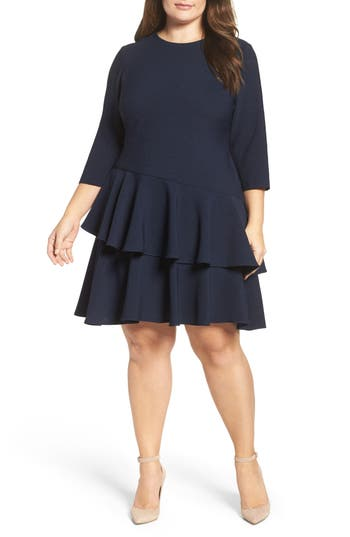 Plus Size Vintage Dresses, Plus Size Retro Dresses Plus Size Womens Eliza J Ruffle Tiered Shift Dress Size 24W - Blue $148.00 AT vintagedancer.com