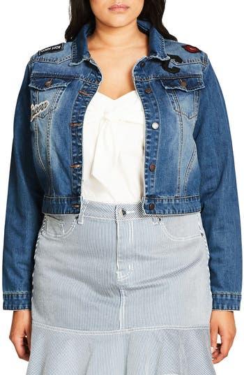 Plus Size Women's City Chic '80S Patch Denim Jacket