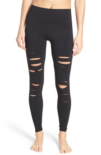 Women's Alo Ripped Airbrush Leggings, Size Large - Black -  adult