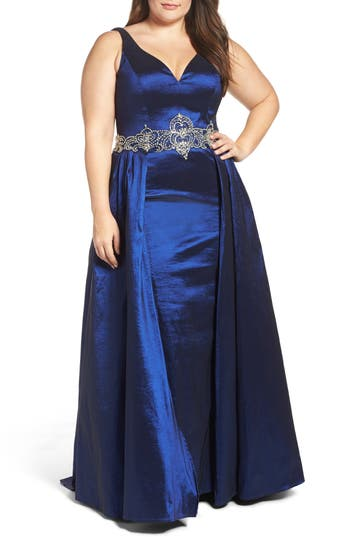Plus Size Vintage Dresses, Plus Size Retro Dresses Plus Size Womens MAC Duggal Embellished Waist Taffeta Ballgown Size 18W - Blue $538.00 AT vintagedancer.com