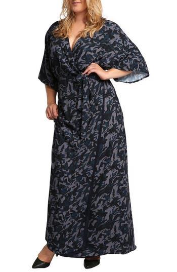 Plus Size Women's Standards & Practices Olivia Wrap Kimono Maxi Dress, Size 1X - Blue